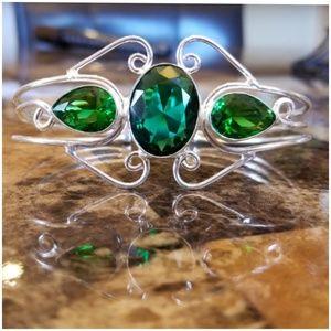 Awesome Green Tourmaline Bangle Bracelet sz 8